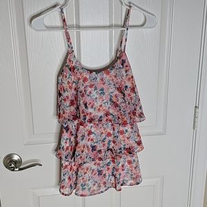 Candies Tiered Ruffles Floral tank top